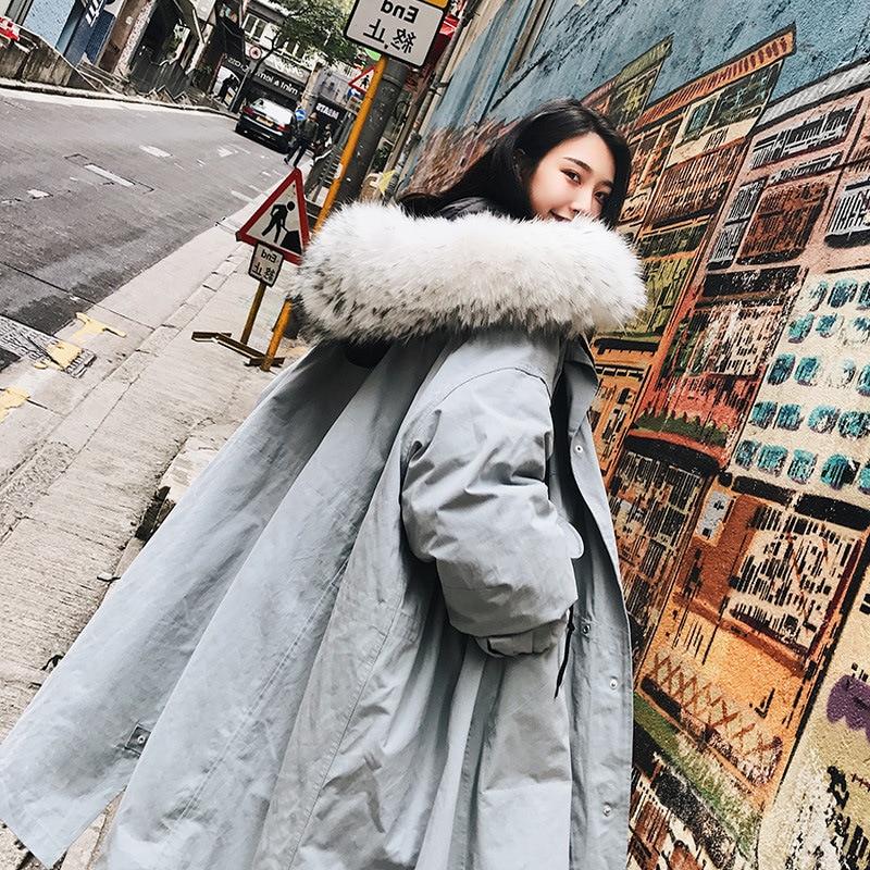 Long Manteau blue Coréenne Col Parka Grand Vers Hiver Nouveau Fourrure Femmes A616 Coton 2018 La Rembourré Taille Green Veste Le Bas Lâche Vêtements Plus De CnwpqaST