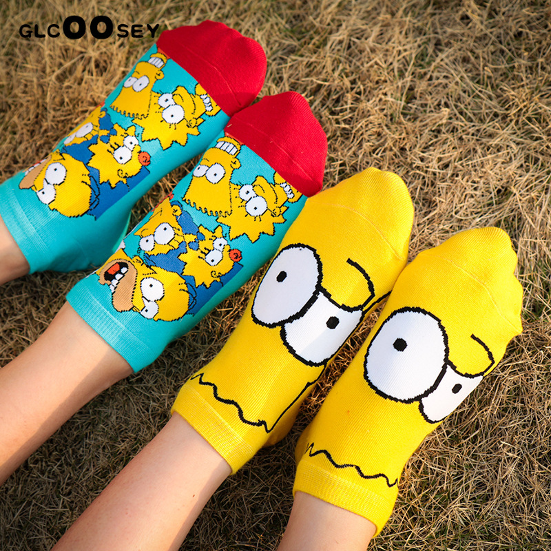 1 Pair Funny Women Children   Socks   Cute Happy Cotton   Socks   Simpsons Family Novelty Spring Autumn Short Ankle Sokken