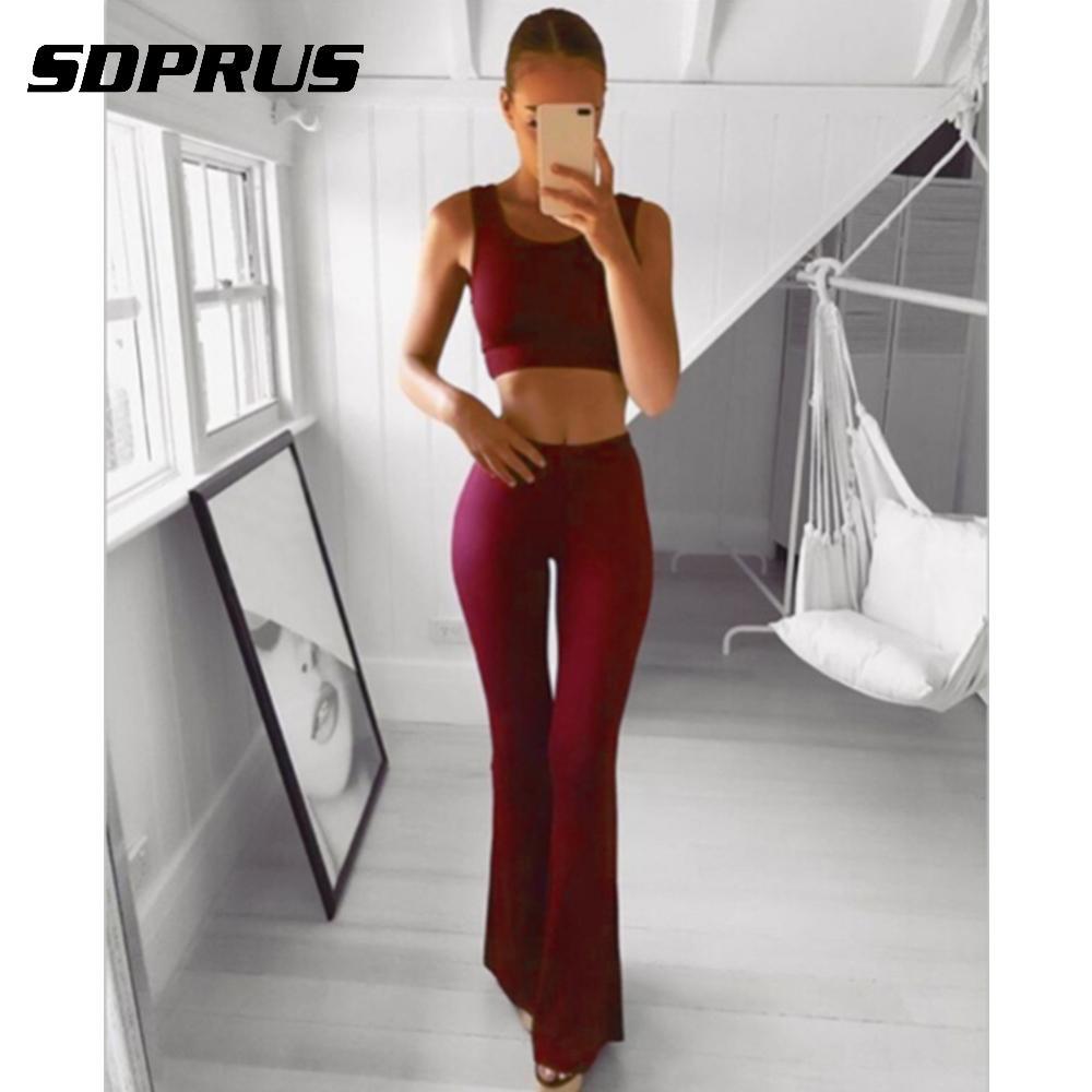 2019 Women Solid   Wide     Leg     Pants   High Waist Full Length Flare   Pants   & Capris Workwear Elastic Bell Trousers Pantalon Femme
