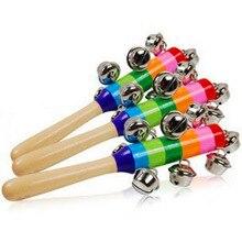 1 шт., детская деревянная погремушка, Радужный цвет, ручной Колокольчик, детские погремушки, колокольчики, шейкер, погремушка, обучающие игрушки