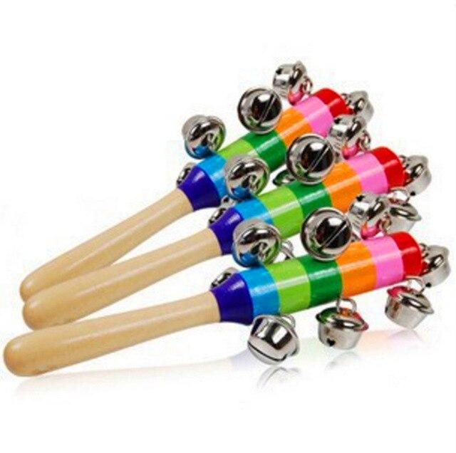 1 pieza bebé sonajero de madera Color arcoíris campana de mano bebé sonajeros cascabeles infantes sonajero juguetes educativos