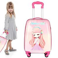 18inch Cute Cartoon Children Rolling Luggage Travel Suitcase Aluminium Trolley Rolling Luggage School Weekend Outdoor Camping