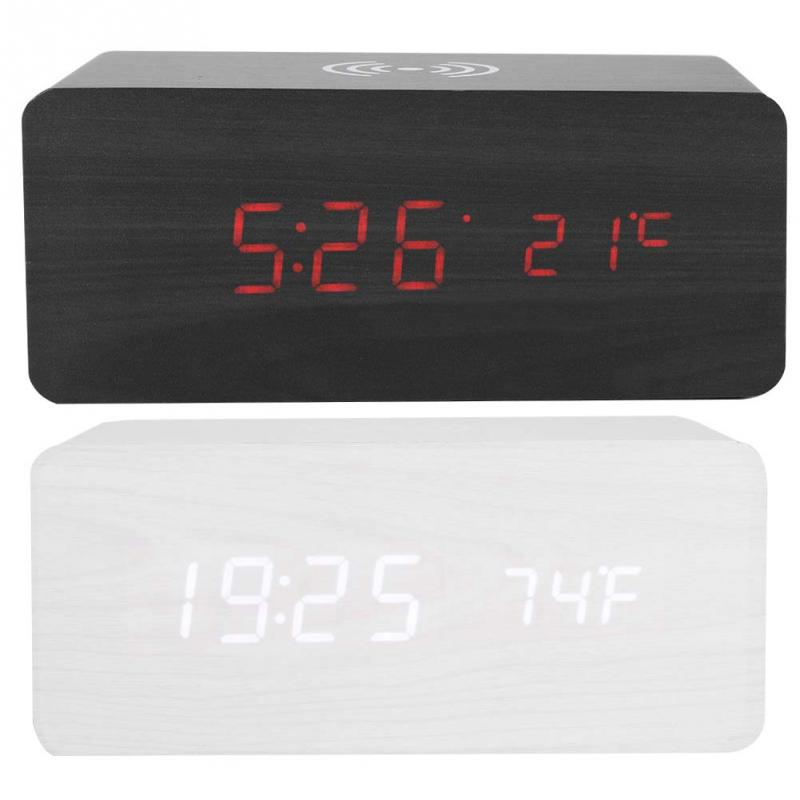 Multi functional LED Mirror Clock Qi Wireless Charging Sound Control LED Mirror Clock Bluetooth Speaker Black