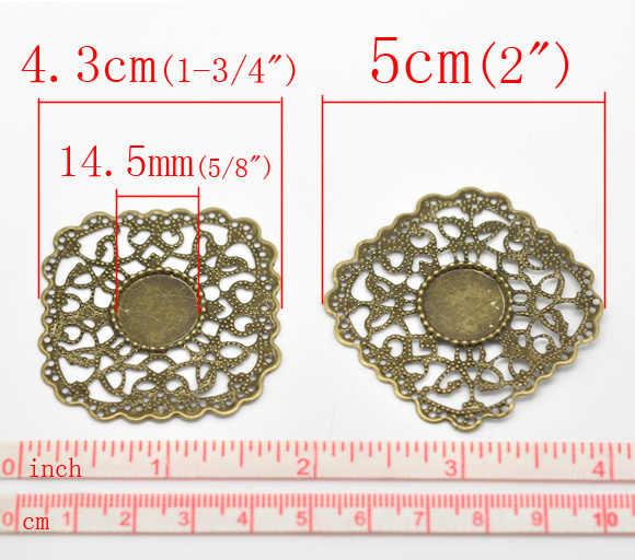 Indah Perunggu Antik Kerawang Pembungkus Konektor 4.3X4.3Cm (Fit 14.5Mm), dijual Per Banyak 30 (B16287)