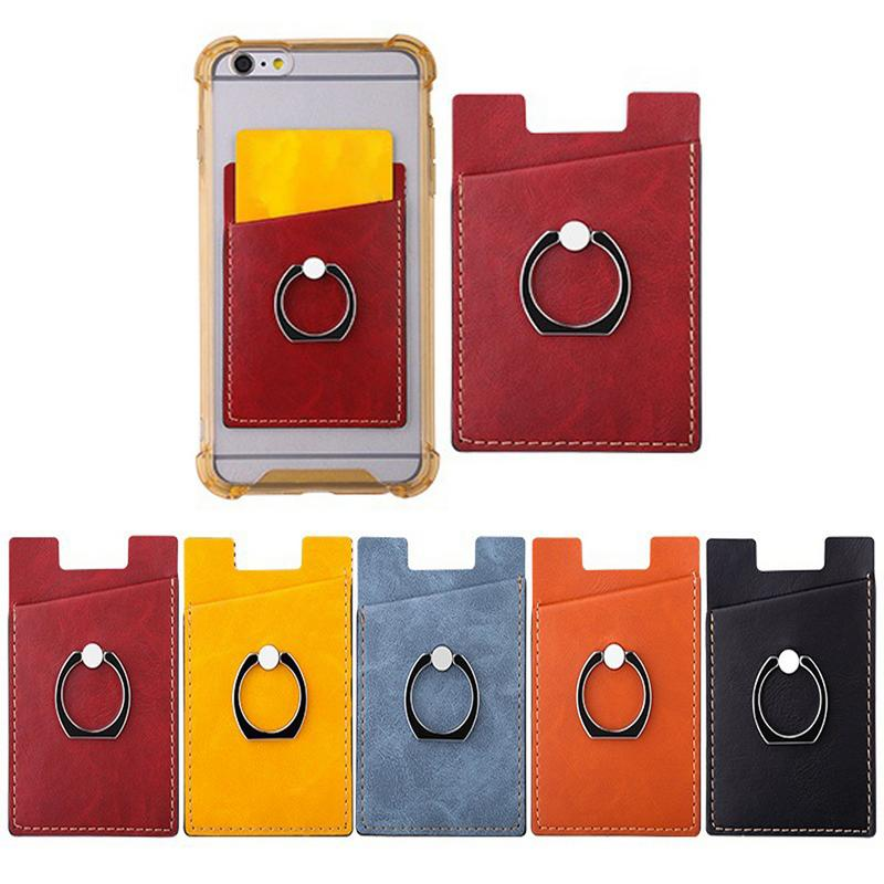 Mobile Phone Card Holder with Pocket Adhesive Sticker Back 2 in 1 Ring Stand