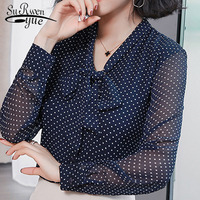 e487543bae New Women Blouse Bow Neck 2019 Spring Fashion Chiffon Shirts Dot Womens  Clothing Solid Color Elegance. Novas mulheres blusa Arco neck 2019  primavera camisas ...