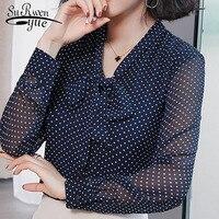 e487543bae New Women Blouse Bow Neck 2019 Spring Fashion Chiffon Shirts Dot Womens  Clothing Solid Color Elegance. Novas mulheres blusa Arco neck 2019  primavera camisas ...