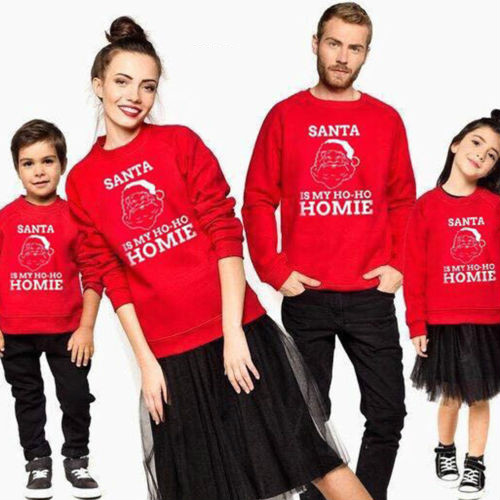 Family Matching Adult Kid Xmas Christmas Jumper Sweater Retro Vintage Pullover Baby Boy Girl Female Male Clothes Set Long Sleeve