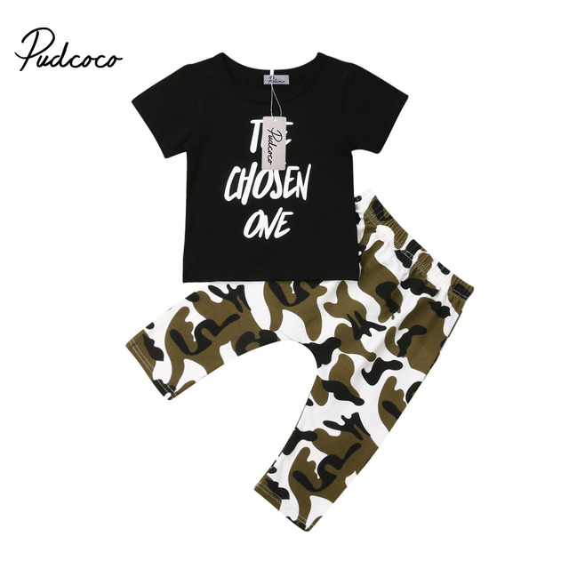 89b2cbd78d06 Boy Summer Monogrammed Cotton clothing set Short-sleeved T-shirt And  Camouflage Pantsuit for