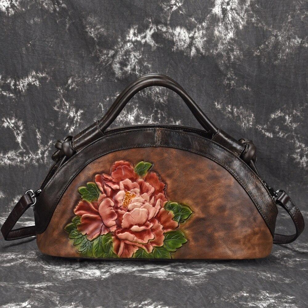 High Quality Women Shoulder Crossbody Tote Bags Lotus Pattern Floral Embossed Retro Handbag Genuine Leather Messenger