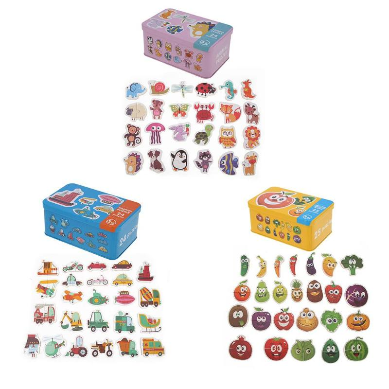 1 Set Baby Kids Cognition Puzzles Toys Wooden Cartoon Cognition Puzzles Toys Baby Iron Box Cards Matching Education Game Toys
