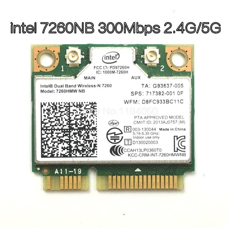 Carte Wifi sans fil double bande Intel 7260 NB 7260HMW Mini PCI-E 300 Mbps 802.11N 2.4G/5 Ghz pour ordinateurs portables 7260NB