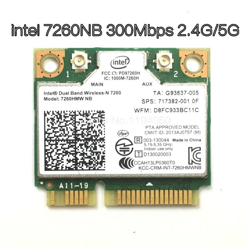 Беспроводная Wifi карта Двухдиапазонная Intel 7260 NB 7260HMW Mini PCI-E 300 Мбит/с 802.11N 2,4G/5 ГГц для ноутбуков 7260NB