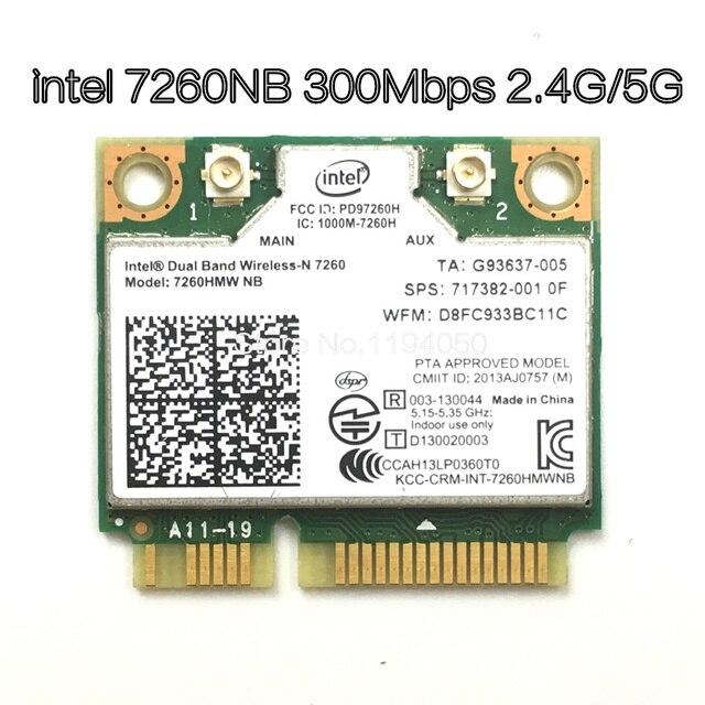 Wireless Wifi Card Dual Band Intel 7260 NB 7260HMW Mini PCI E 300Mbps 802.11N 2.4G / 5Ghz for Laptops 7260NB
