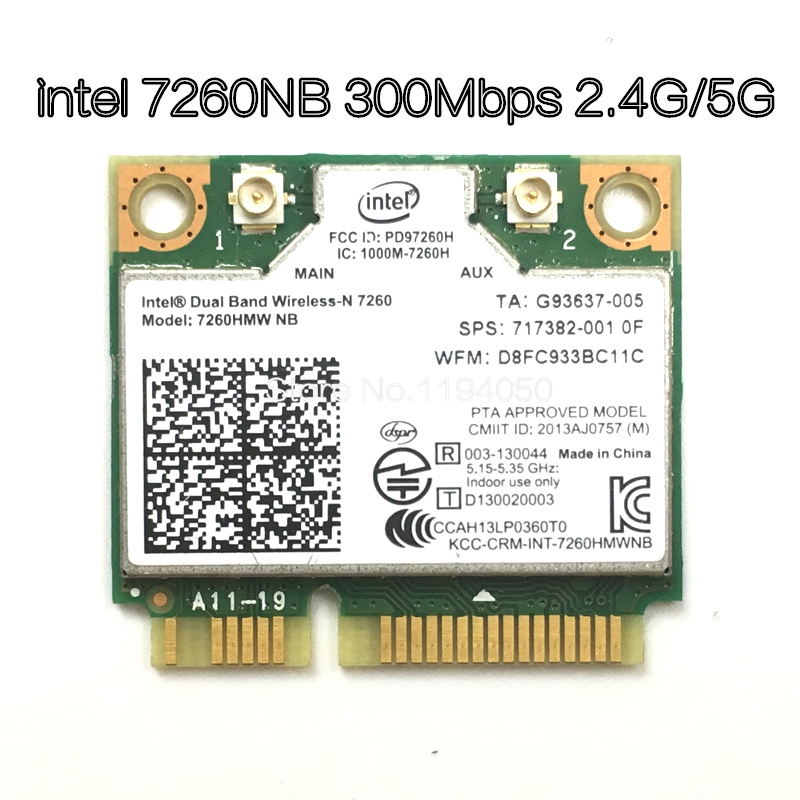 Wireless Wifi Card Dual Band Intel 7260 NB 7260HMW Mini PCI-E 300Mbps 802.11N 2.4G / 5Ghz for Laptops 7260NB image