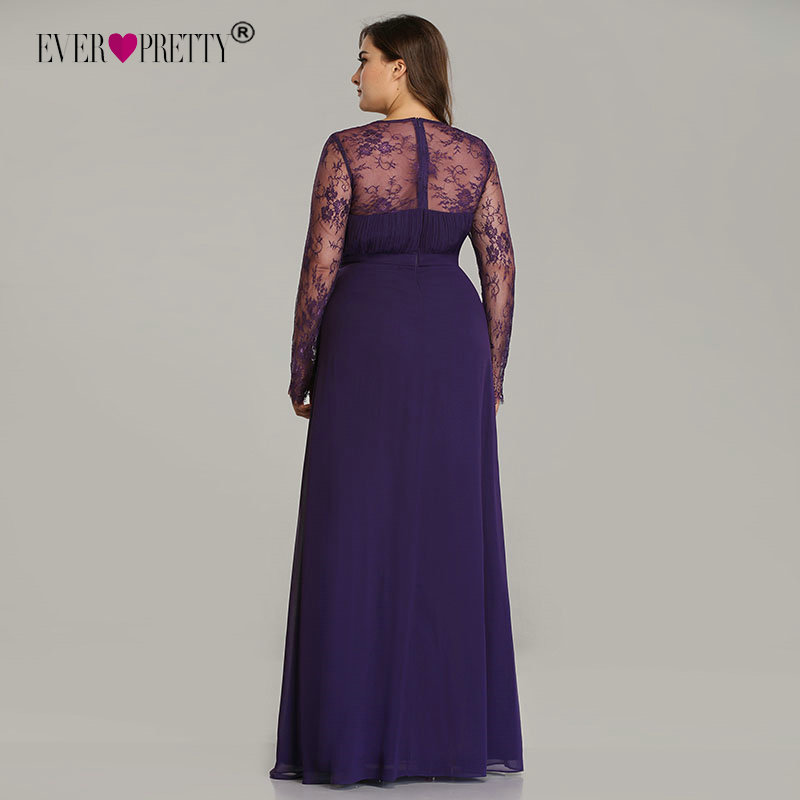 Image 4 - Elegant Plus Size Prom Dresses 2019 New Ever Pretty Purple Long Sleeve Lace A line Chiffon Long Party Gowns Robe De Soiree-in Prom Dresses from Weddings & Events