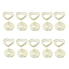Mini Heart Shape Place Card Memo Holder Picture Stand Note Clip for Wedding Party Decoration Pack 10pcs (Gold)(China)