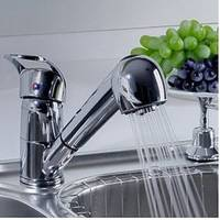 NEW Single Handle Low Arc Pull Out Kitchen Sink Faucet with Two Spray Model, Chrome