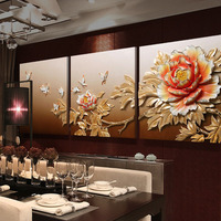 Home Decoration New Chinese Style Living Room Modern Decorative Painting Peony Painting Sofa Background Wall Painting Stereo 3d
