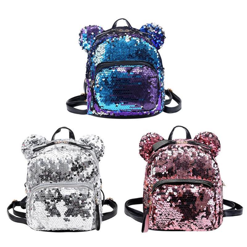 Portable Women Sequins Bling Backpack Girls Mini School Bags For Teenage Girls Backpack Women Small Travel Bag Mochila