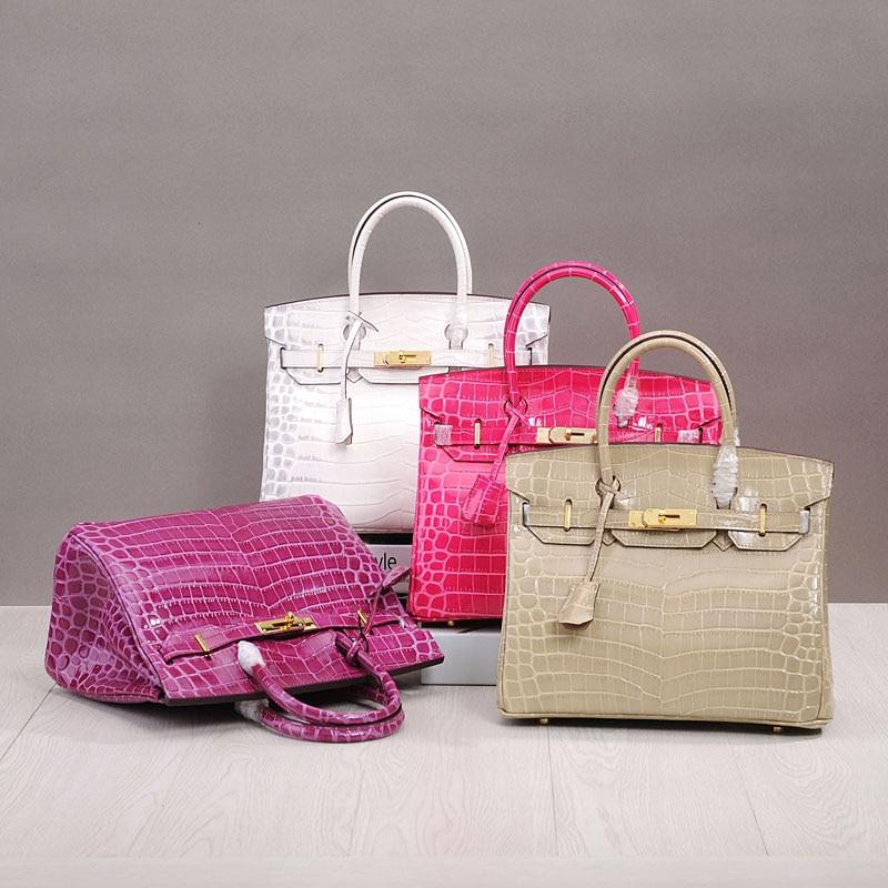 PRAVESDA sacs à main style crocodile aligator en cuir véritable pour femmes sac fourre-tout sacs de marque de luxe sacs à bandoulière quatre tailles