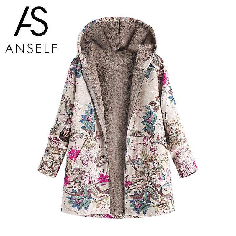 Fashion Women Faux Fur Hooded   Parka   Coat Plus Size Floral Print Side Pockets Long Sleeve Warm Vintage Casual Long Coat Outwear