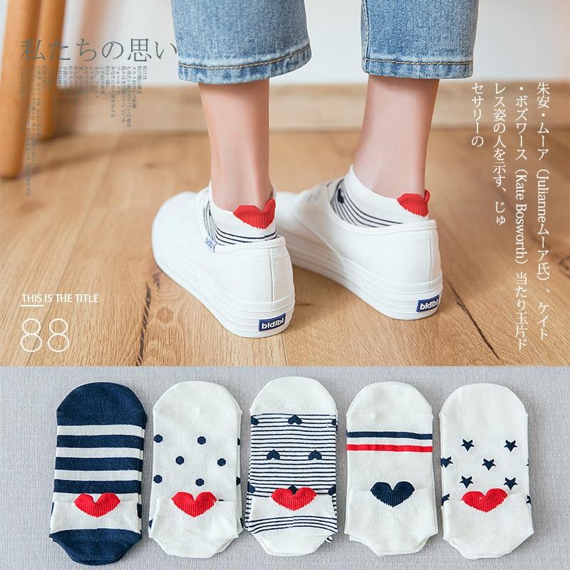 Женские короткие невидимые хлопковые носки в горошек с сердечками на спине, Летние удобные женские лодочные носки по щиколотку, 1 пара = 2 шт.,...