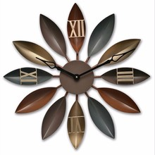 Large Wall Leaf Hanging Clock Loft Industrial Iron Big Mute Clock Home Decor