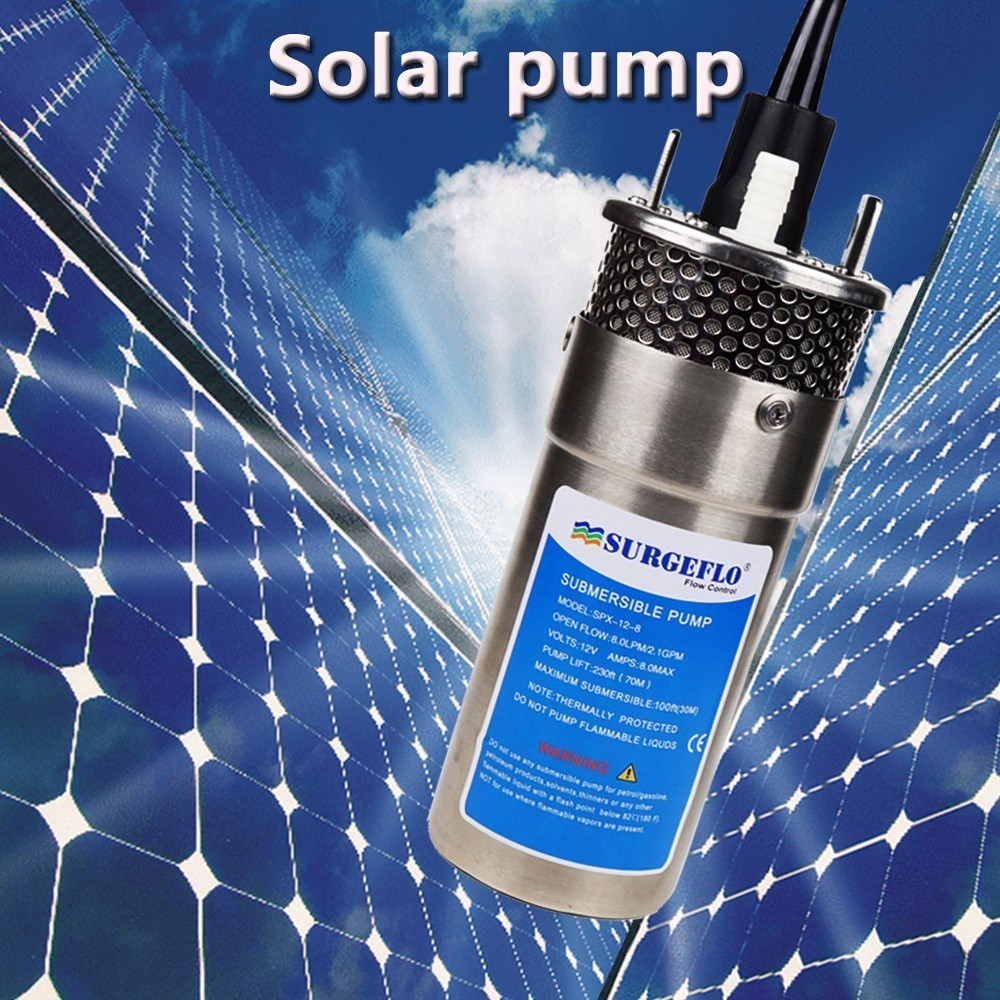 12v/24v Large Flow Lift=70m Mini Submersible Solar Energy Water Pump Car Wash Bilge Cleaning Outdoor Garden Deep Well 12 24 V image