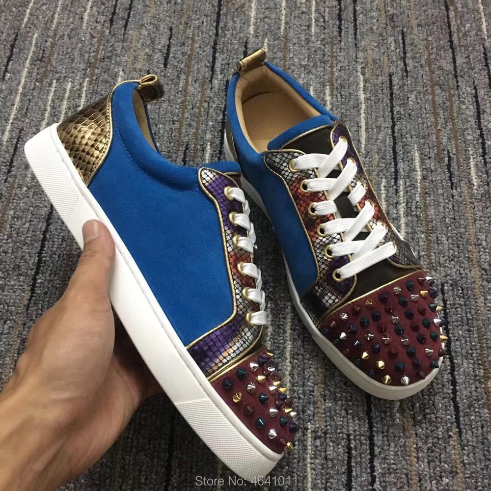 Sneakers Multicolore Cl Bleu Andgz Mocassins Loisirs Chaussures Plat 2018 Cuir Coupe Daim bas up Rivets Homme En Rouge Serpent Fond Dentelle Pour qFU70tw