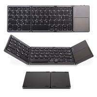 Mini Tri Folding bluetooth Keyboard Wireless Foldable Touchpad Keypad for IOS/Android/Windows for ipad Tablet