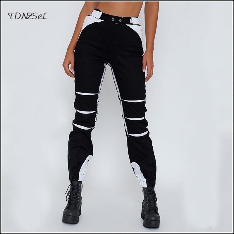 Casual Jogger High Waist Cargo   Pants   Women Summer Loose Harem Punk Streetwear Trousers Fashion Split Slacks Hip Hop   Pant     Capris