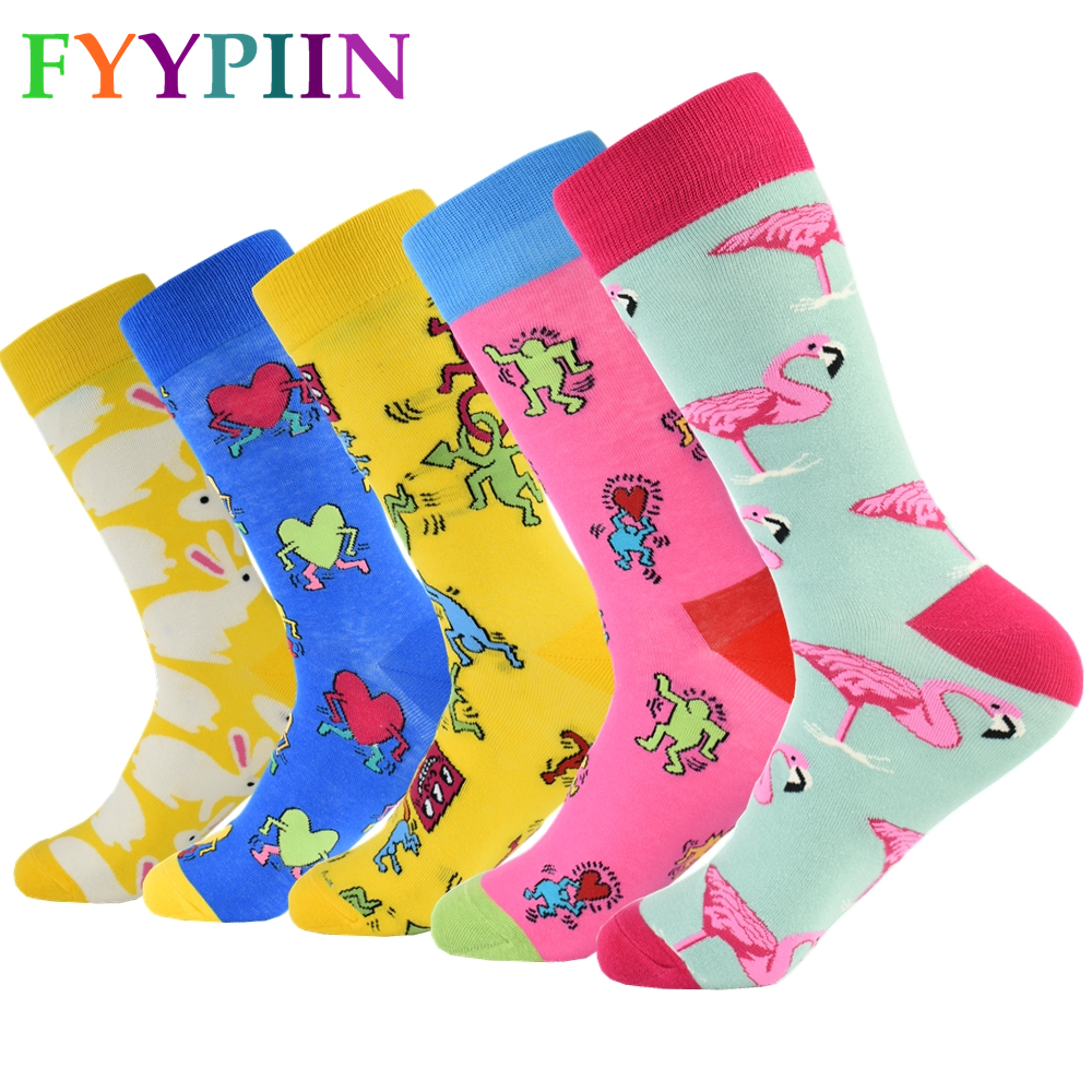 2020 Top Fashion Rushed 5 Pair/lot Men Socks Happy For Funny Novelty Lot Colorful Man Casual Gift Skateboard Cotton Socks Men