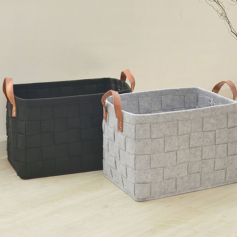 Hand-Woven Felt Storage Basket Stitching Desktop Debris Debris Storage Box Dirty Clothes Laundry Basket Children Toy Organ