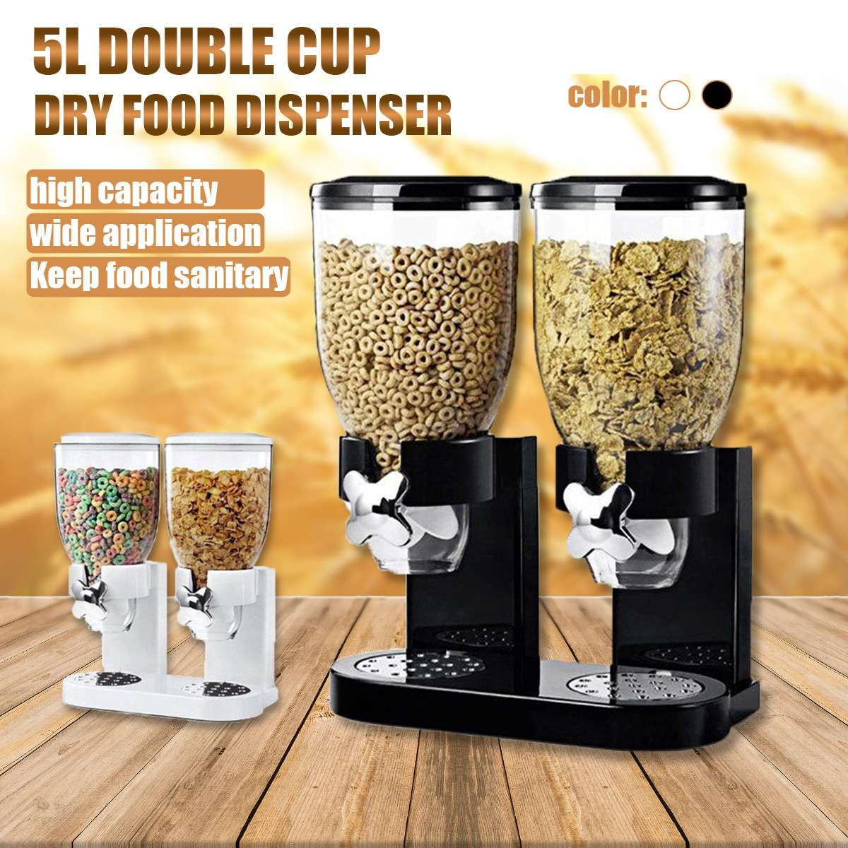 5L Double Cup Dry Food Cereal Nuts Dispenser Household Kitchen Machine Food Storge Bottles Airtight Kitchen Storage Container dispensador de cereal peru