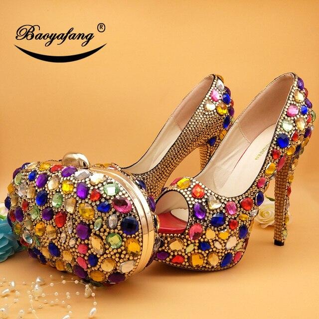 BaoYaFang 2018 New Arrive Peep Toe Multicolored Crystal wedding shoes Woman High heels Platform shoes and bags Fahion shoes