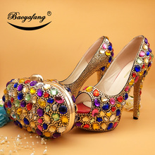BaoYaFang  High Heeled Peep Toe Multicolored Crystal wedding shoes Woman High heels Platform shoes and bags Fahion shoes and bag baoyafang orange crystal womens wedding shoes with macthing bags high heels platform shoes and purse woman high shoes