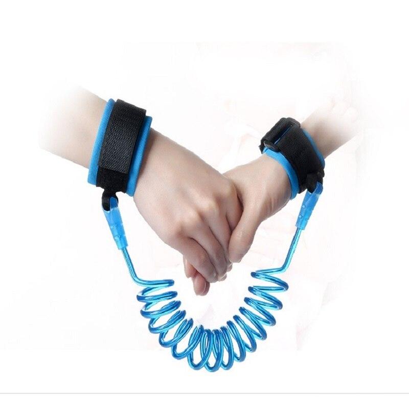 Anti-verloren Pu & Edelstahl Kontraktion Kleinkind Sicherheit Harness Kind Safty Handgelenk Link Antilost Kind Gürtel Einstellbar Blau Preisnachlass