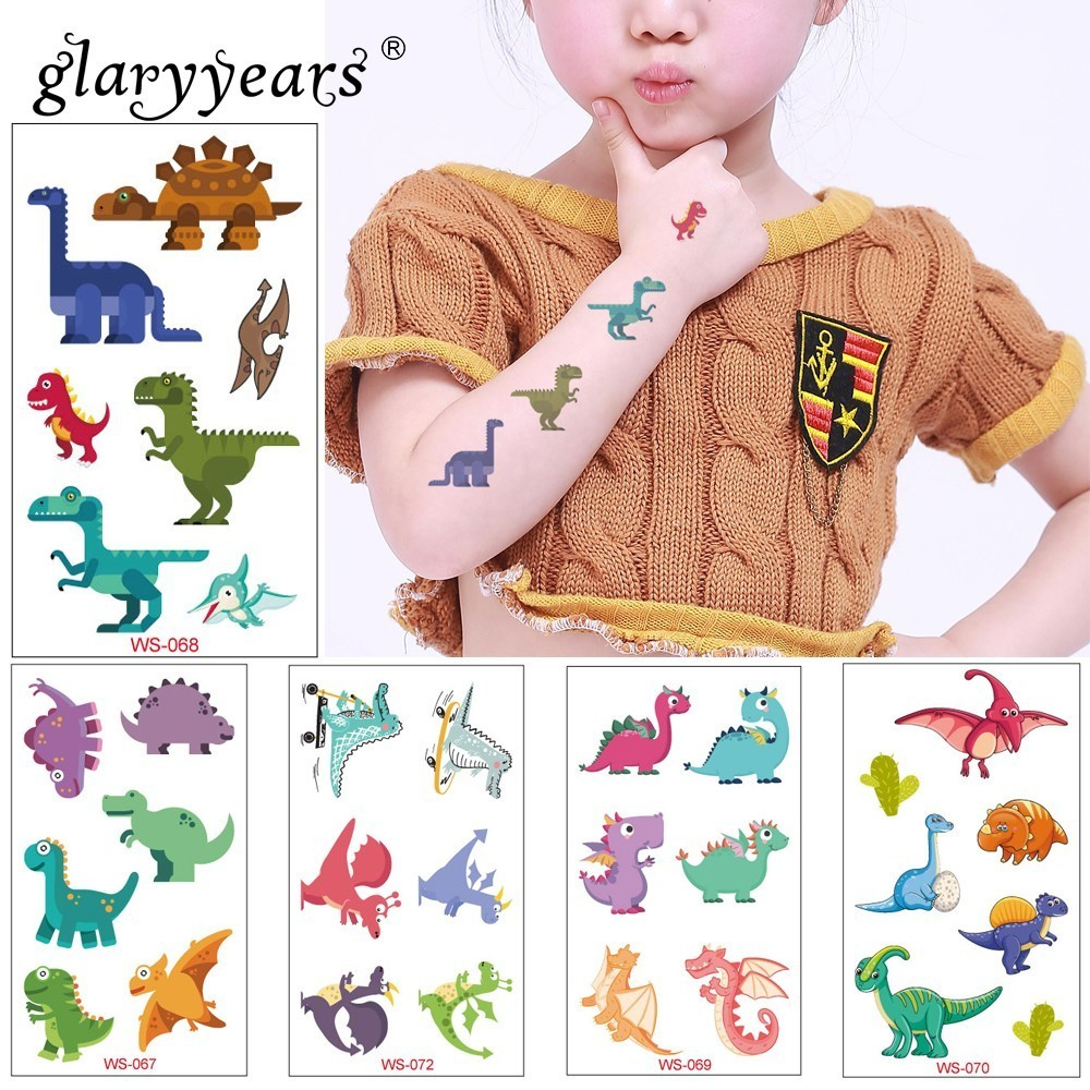 Glaryyears 1 Sheet Dinosaur Makeup Temporary Tattoo Sticker Cute Fake Tatoo Flash Tatto Waterproof Small Body Art For Children