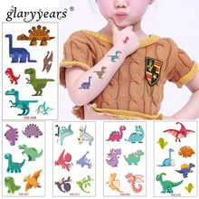 glaryyears 1 Sheet Dinosaur Makeup Temporary Tattoo Sticker Cute Fake Tatoo Flash Tatto Waterproof Small Body Art For Children(China)