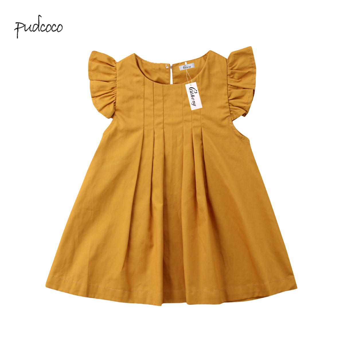 Pudcoco 2019 Brand New Newborn Toddler Infant Baby Girls Summer Dress Casual Princess Party Tutu Solid Dress