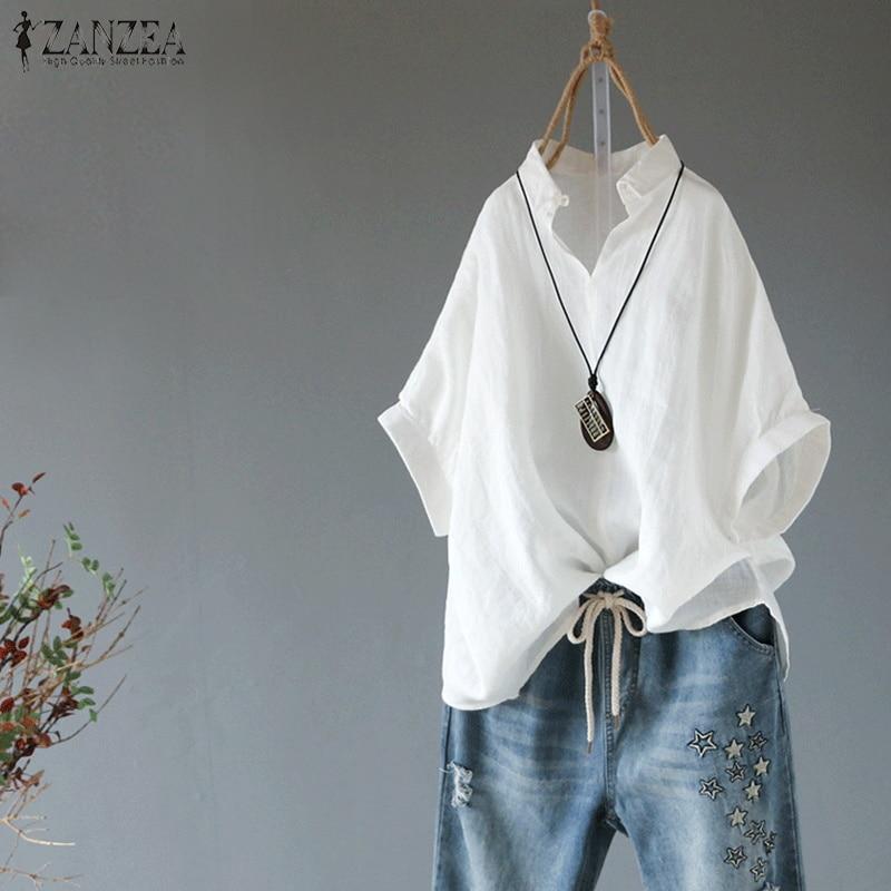 2019 ZANZEA Summer Lapel Neck Solid Blouse Women Short Sleeve Cotton Linen Top Female Casual Loose Shirt Elegant Work OL Blusas
