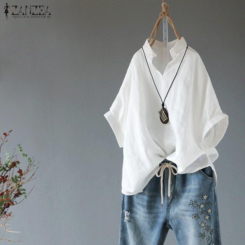 2020 ZANZEA Summer Lapel Neck Solid Blouse Women Short Sleeve Cotton Linen Top Female Casual Loose Shirt Elegant Work OL Blusas