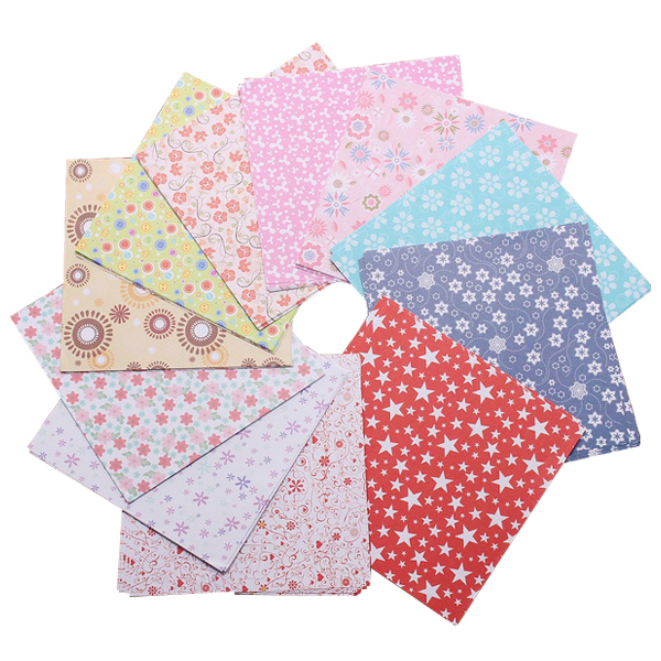 PPYY NEW -1 Pack Floral Square Folding Crane Origami Chiyogami Craft Lucky Wish Paper Size: (L)X(W): 15X15cm