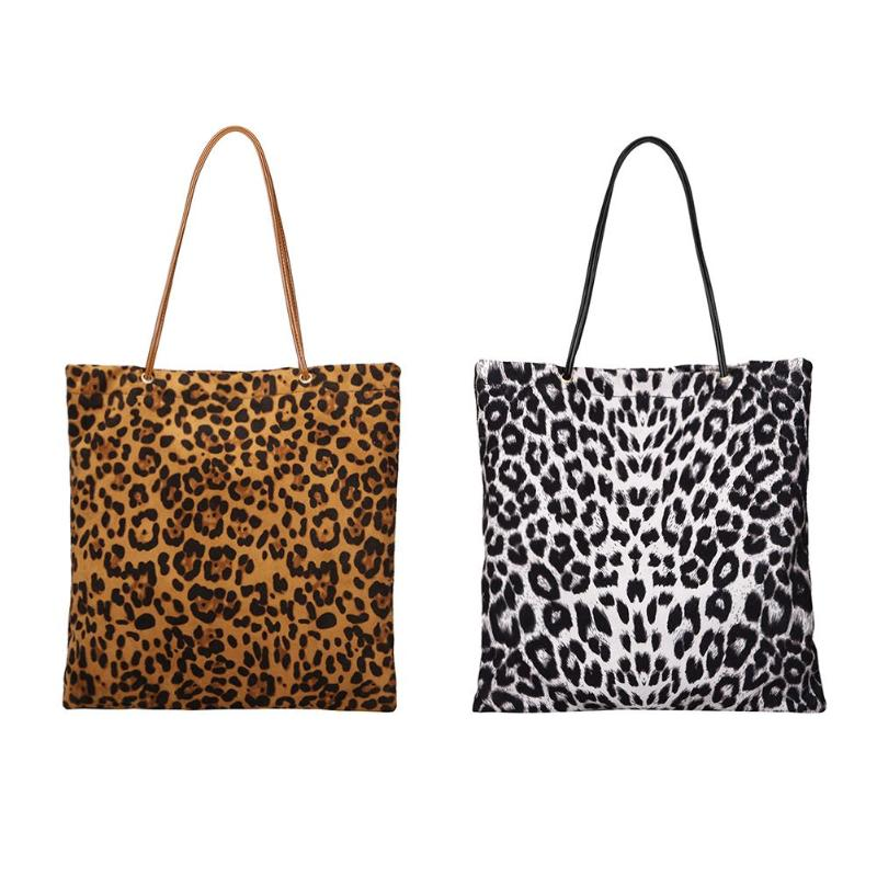 ed501db14b06 2018 Woman Leopard Print Large Tote Shopper Bag Flannel Shoulder Bag Hand  bags Ladies Leopard Shopping Bags For women-in Shopping Bags from Luggage &  Bags ...