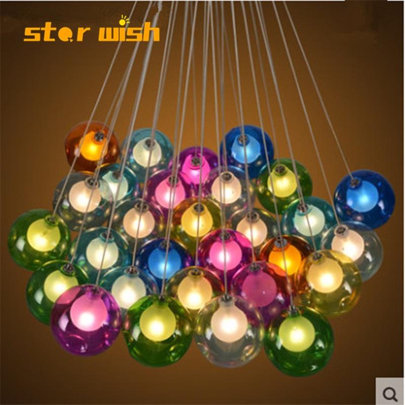 Modern LED chandelier living room hanging lights home decoration lighting dining room fixtures bedroom Glass ball pendant lamps Chandeliers     - title=