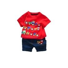Summer Baby Boy Girl Clothes Infant Cartoon Car Pattern T Shirt Shorts 2pcs/sets Kids Fashion Garment Children Casual Sport Suit стоимость