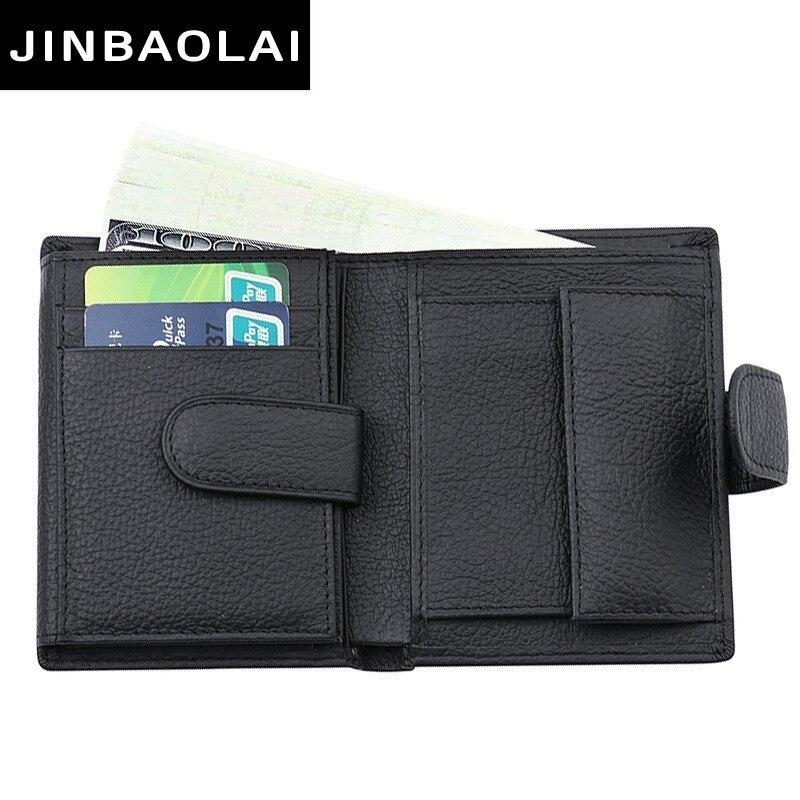Fashion Men Wallet Genuine Leather Wallet Men With Coin Pocket Short Wallet Hasp Design Coin Pocket Driver License Holder Wallet