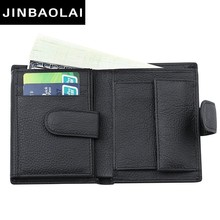 Fashion Men Wallet Genuine Leather With Coin Pocket Short Hasp Design Driver License Holder