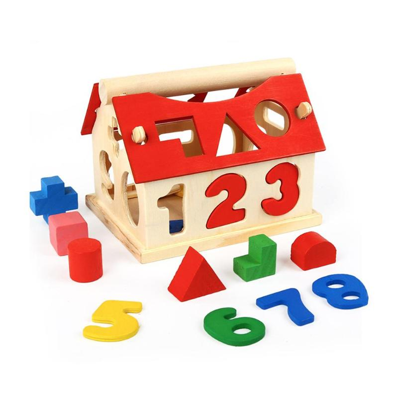 Wooden Puzzle Building Block Toy Wisdom House Digital Shape Matching Toys Exercise Hands-on Ability Learning Educational Toys